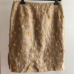 LUISA CERANO Beige Silk Floral Appliqué Skirt